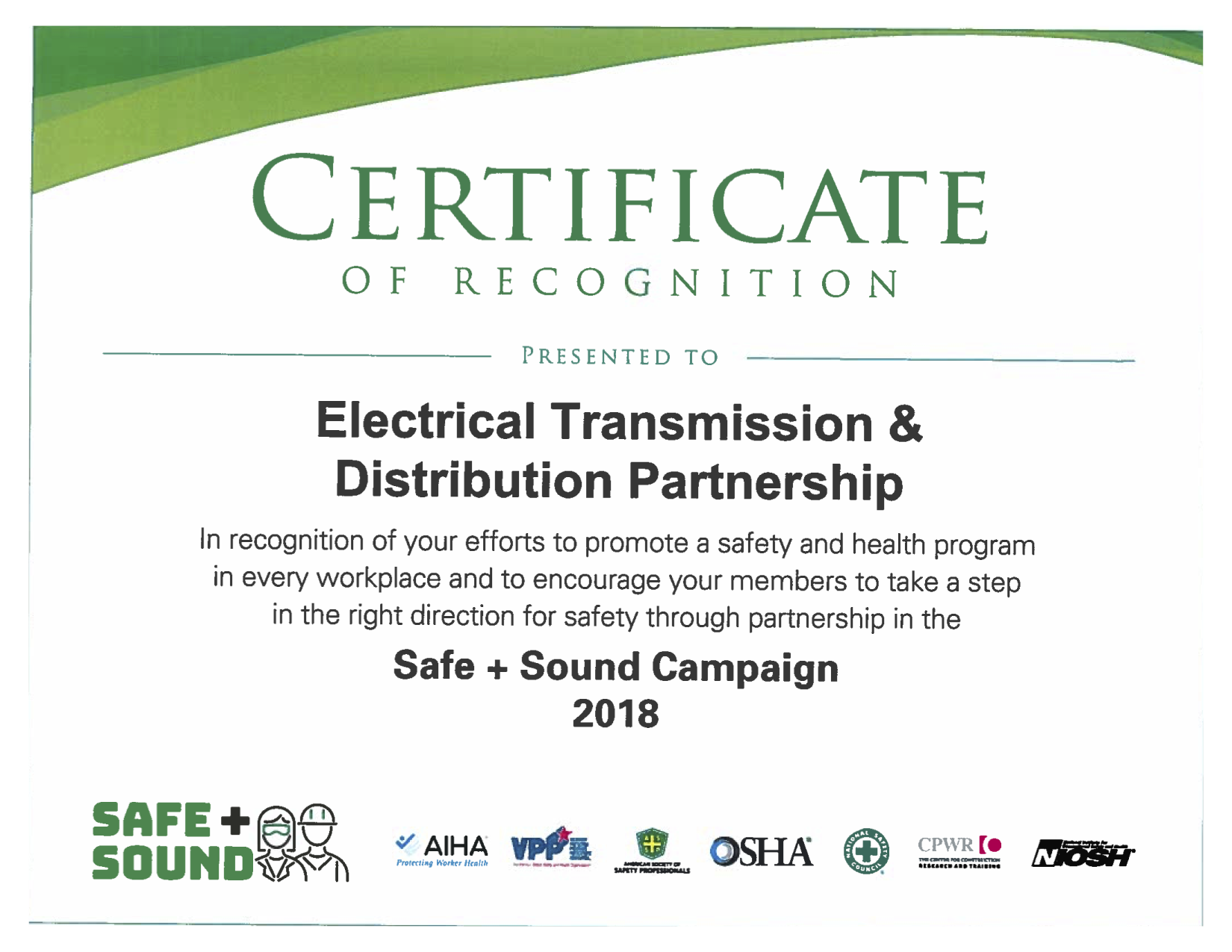OSHA Safe Sound Week Recogntion 2018